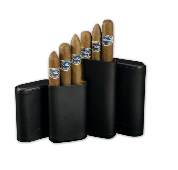 2 Black Leather Cigar Cases Containing 3 Cigars