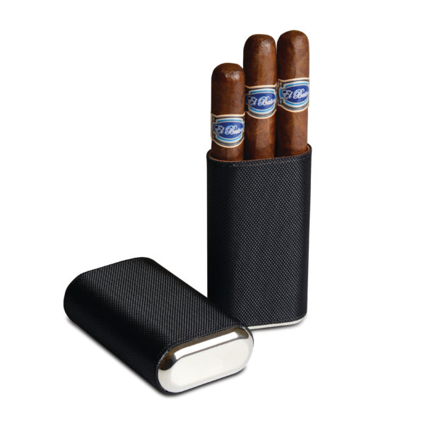 Silver and Black Cigar Case Containing 3 El Baton Cigars Robusto Size