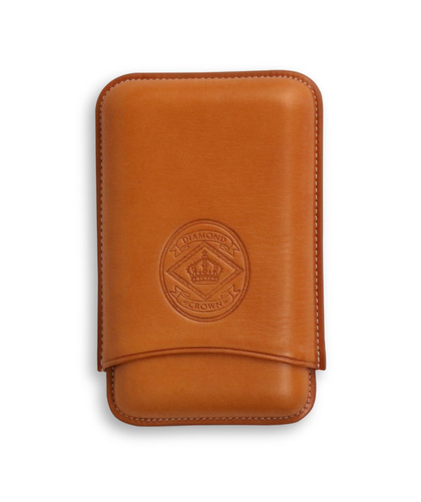 Diamond Crown Leather Cigar Case Tan Robusto Size