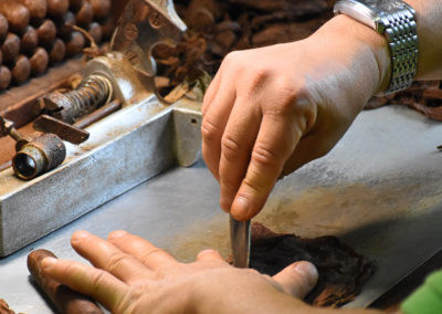 Two hands working on wrapper tobacco leaf using chaveta to cut