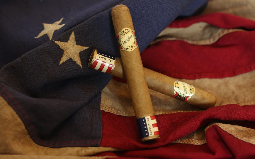 Brick House Double Connecticut Cigars on American Flag