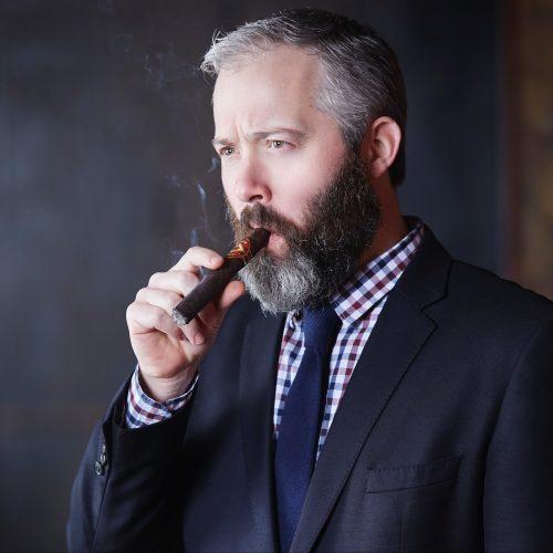 RSM Jake Cronin smoking Diamond Crown Maduro Cigar Headshot.